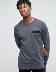 Jack And Jones Sweatshirt With Raglan Sleeve Military Detail Asphalt Grey