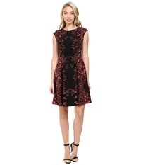 Maggy London Shadow Flower Pebble Texture Fit And Flare Dress Black Cherry Women's Dress