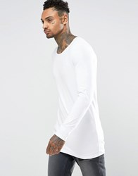 Asos Longline Muscle Long Sleeve T Shirt With Boat Neck In White White