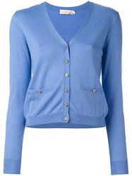 Tory Burch Logo Plaque Button Cardigan Blue