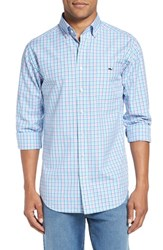 Vineyard Vines Men's 'Phinneys' Slim Fit Plaid Sport Shirt Capri Blue