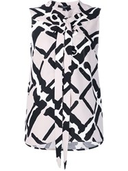 Derek Lam Printed Lace Detail Blouse Nude And Neutrals