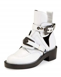 Balenciaga Buckle Leather 35Mm Bootie Blanc White