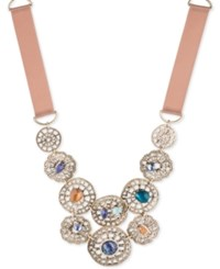 Lonna And Lilly Gold Tone Stone Filigree Fabric Collar Necklace