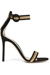 Gianvito Rossi Marshal Metallic Embroidered Suede Sandals Black