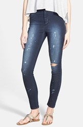 Junior Women's Standards And Practices Destroyed High Waist Skinny Jeans Paint Splatter