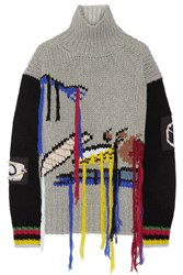 Joseph Fruit Fringed Intarsia Wool Turtleneck Sweater Gray