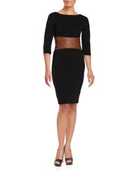 Nue By Shani Leather Paneled Bodycon Dress Black Luggage