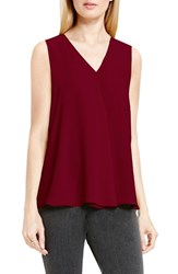 Vince Camuto Women's Drape Front V Neck Sleeveless Blouse Raisin