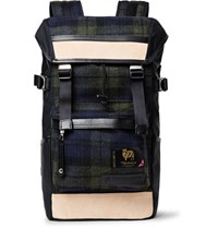 Master Piece Leather Trimmed Nylon And Checked Wool Backpack Black