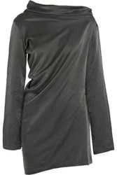 Donna Karan New York Draped Washed Silk And Cotton Blend Tunic Charcoal
