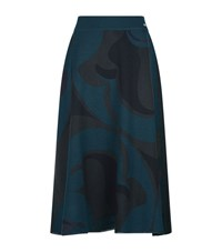 Escada Sport Graphic Print Midi Skirt Female Blue