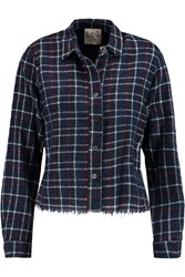 Sea Broderie Anglaise Paneled Cotton And Wool Blend Shirt Blue