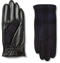 Burberry Cashmere Lined Wool And Leather Tech Gloves Midnight Blue