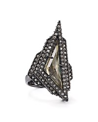 Alexis Bittar Elements Pave Stepped Pyrite Ring Ruthenium