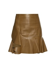 Alexander Mcqueen Asymmetric Ruffle Leather Mini Skirt