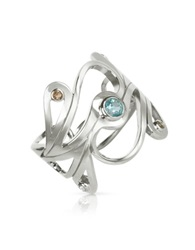 Sho London Sterling Silver Mari Splash Ring