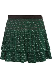 Vanessa Bruno Flynn Pleated Embroidered Crepe Mini Skirt Green