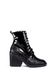 Robert Clergerie 'Bono' Mock Snakeskin Leather Lace Up Boots Black