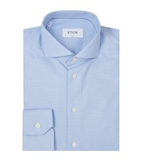 Eton Slim Fit Micro Hounds Tooth Shirt Male Light Blue