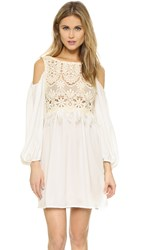 Chio Lace Fringe Dress Cream