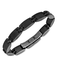 Macy's Men's Ceramic And Stainless Steel Bracelet Heavy Black Watch Lock Bracelet