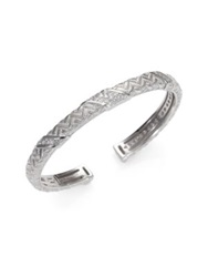 Judith Ripka Mercer White Sapphire And Sterling Silver Berge Cuff Bracelet