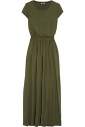Splendid Supima Cotton And Micro Modal Blend Jersey Maxi Dress Green