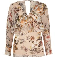 River Island Womens Floral Long Sleeve Cape Top