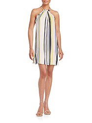 1.State Striped Halter Dress Cream Purple Yellow