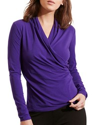Lauren Ralph Lauren Petite Faux Wrap Jersey Top Purple