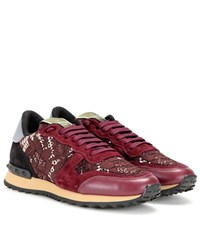 Valentino Rockrunner Lace Leather And Suede Sneakers Red