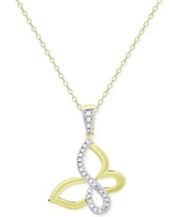 Victoria Townsend Butterfly Pendant Necklace In 18K Gold Over Sterling Silver Two Tone