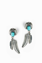 Jessie Western Women S D Green Turq Feather Earring Boutique1