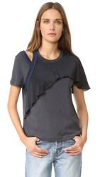 3.1 Phillip Lim Cutout T Shirt With Ruffle Black