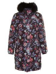 Etro Fur Trimmed Floral Print Quilted Down Coat Black Multi