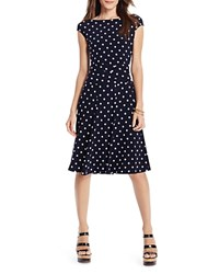 Lauren Ralph Lauren Jason Polka Dot Dress Lighthouse Navy Colonial Cream