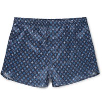 Derek Rose Brindisi Silk Boxer Shorts Blue