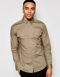 Asos Military Shirt In Skinny Fit Camel With Long Sleeves Camel Tan