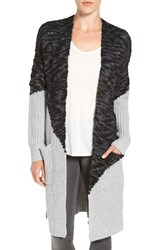 Trouve Women's Intarsia Colorblock Cardigan