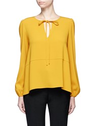 Co Keyhole Front Crepe Blouse Yellow