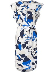 Derek Lam 10 Crosby Flower Print Ruffle Sleeve Dress White