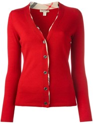 Burberry V Neck Cardigan Red