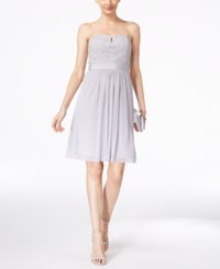 Adrianna Papell Strapless Lace Dress Silver
