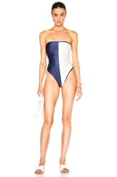 Adriana Degreas Two Color Strapless Suit In Blue White