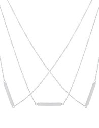 Lord And Taylor Sterling Silver Triple Layered Bar Necklace