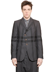 Vivienne Westwood Windowpane Wool Jacket Dark Grey