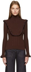 Fendi Brown Ruffled Turtleneck