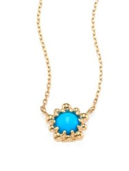 Anzie Micro Dew Drop Sleeping Beauty Turquoise And 14K Yellow Gold Pendant Necklace Gold Turquoise