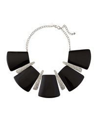Kenneth Jay Lane Geometric Black Enamel Station Necklace